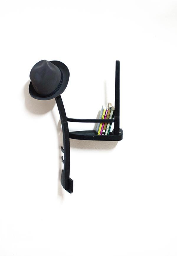 Repurposing a chair into a shelf and hat rack
