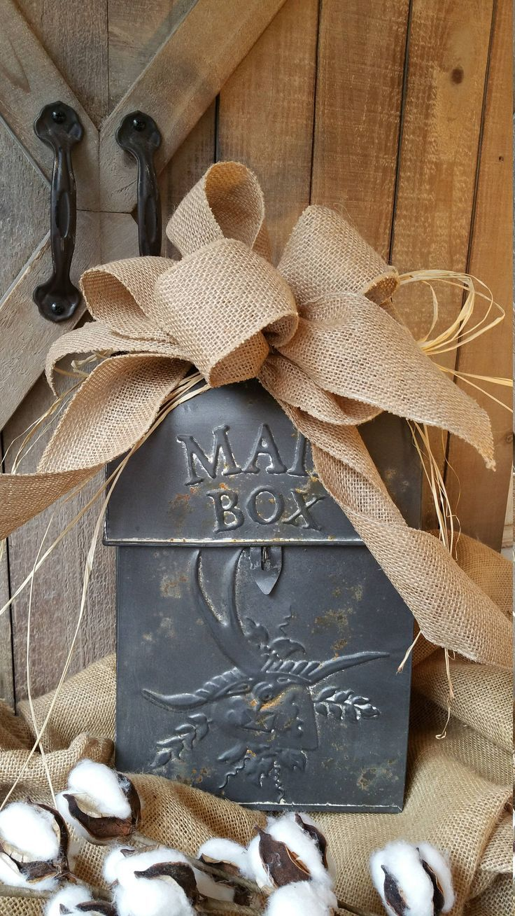 Farmhouse Mailbox with burlap bow, Wall Mount Mailbox, Rustic Mailbox, Farmhouse Mailbox, Outdoor House Decor, House Mailbox, Santa Mailbox by FarmHouseFloraLs on Etsy