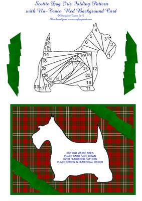 Scottie Dog Iris Folding Pattern with Red Background