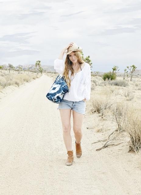 White Ula Emb Top with StarMela Cowboy hat and Amala weekender bag.