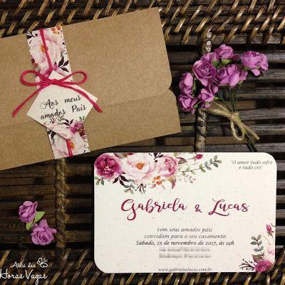 convite de casamento ou aniversário rústico floral aquarelado boho chic kraft e reciclado com brilho