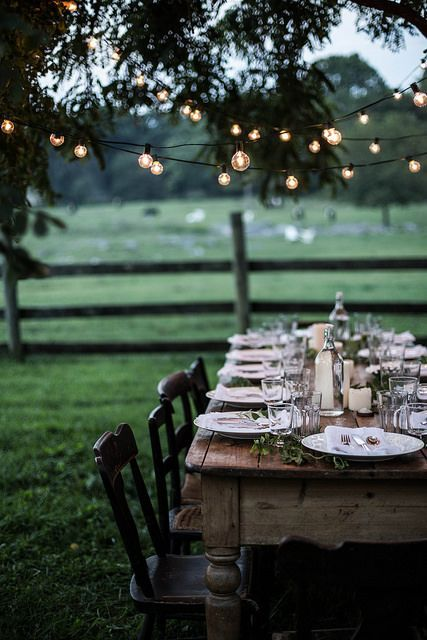 Lange Tafel für Gäste im Freien. Rustikal. Ländlich. Holz. Draußen zuhause. Laue Sommernacht. Lichterkette.