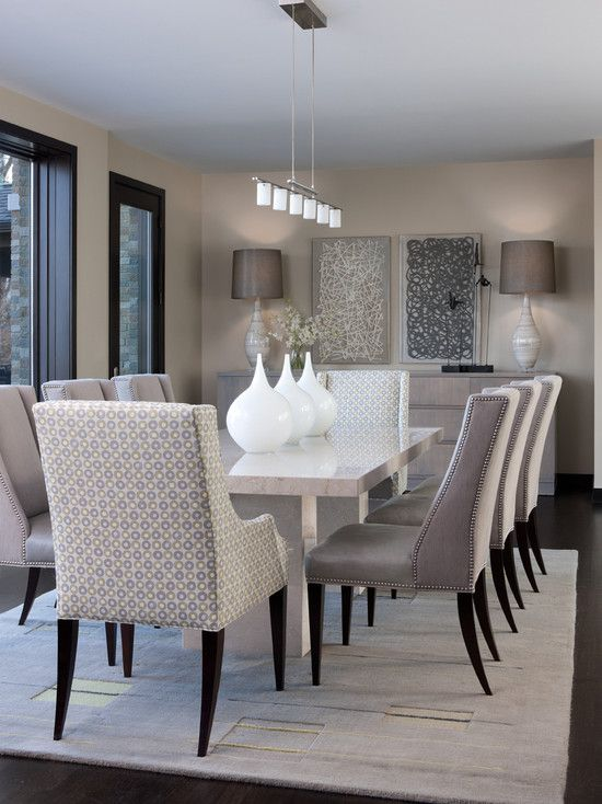 Nice Like These Fabric Chairs Too. Contemporary Dining Room Design Ideas With  White Marble Dining Table And Modern Decorative Wall Arts