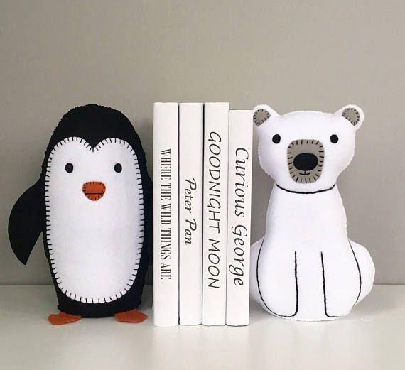 Penguin and polar bear bookends childrens bookends felt set