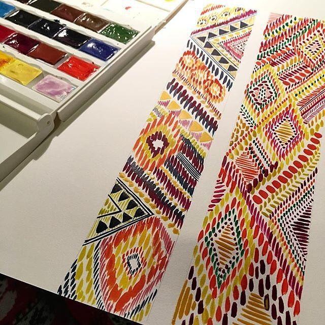 Ikat designs using watercolour #design #drawing #surfacepatterndesigner #watercolour #exposeme #surfacepattern #textiles #design IG: @sarahkatetextiledesign