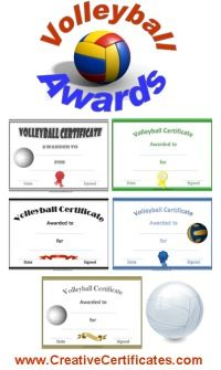 A variety of free printable volleyball awards and certificates. Many more free sports awards and award certificates on this site.