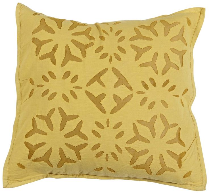"Bulk Wholesale Yellow Cushion Cover in Pure Cotton – 16x16"" Hand-Stitched Throw Pillow Cover with Cut Work in Floral Pattern – Decorative Pillow Case for Couches / Beds / Sofas – Home Décor from India  (Set of 4)"