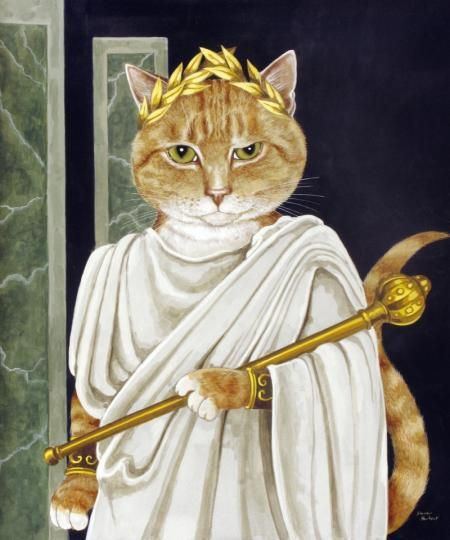 Caesar had all kinds of talent seemed he could do everything he turned his hand to.  Calpurnia, Caesar's wife owned a kitten, whom she called her little boy, hence he felt entitled to rule as well. That Corona Civica he's got on his head was not earned.Caesar he was not. Scared of mice.