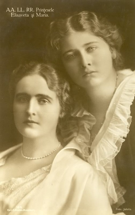 Princess Elisabetha (later queen consort of Greece) and Princess Maria(later queen consort of Yugoslavia) of Romania.