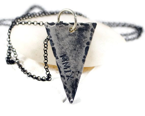 Personalized Rustic Sterling Triangle Necklace. Custom