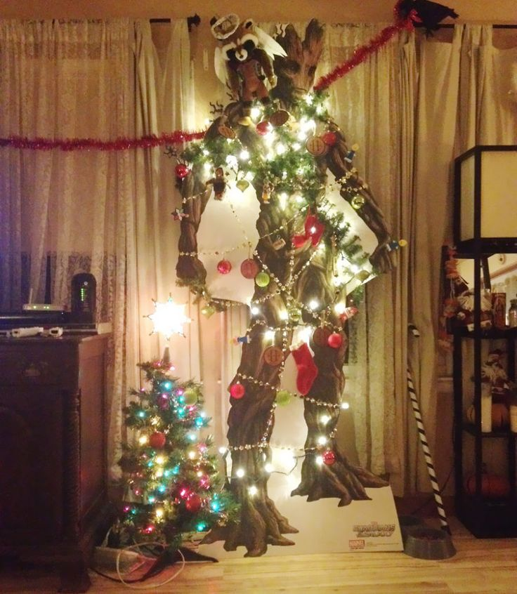 Groot Christmas Tree w/a Rocket angel - holy crap this is AMAZING!!