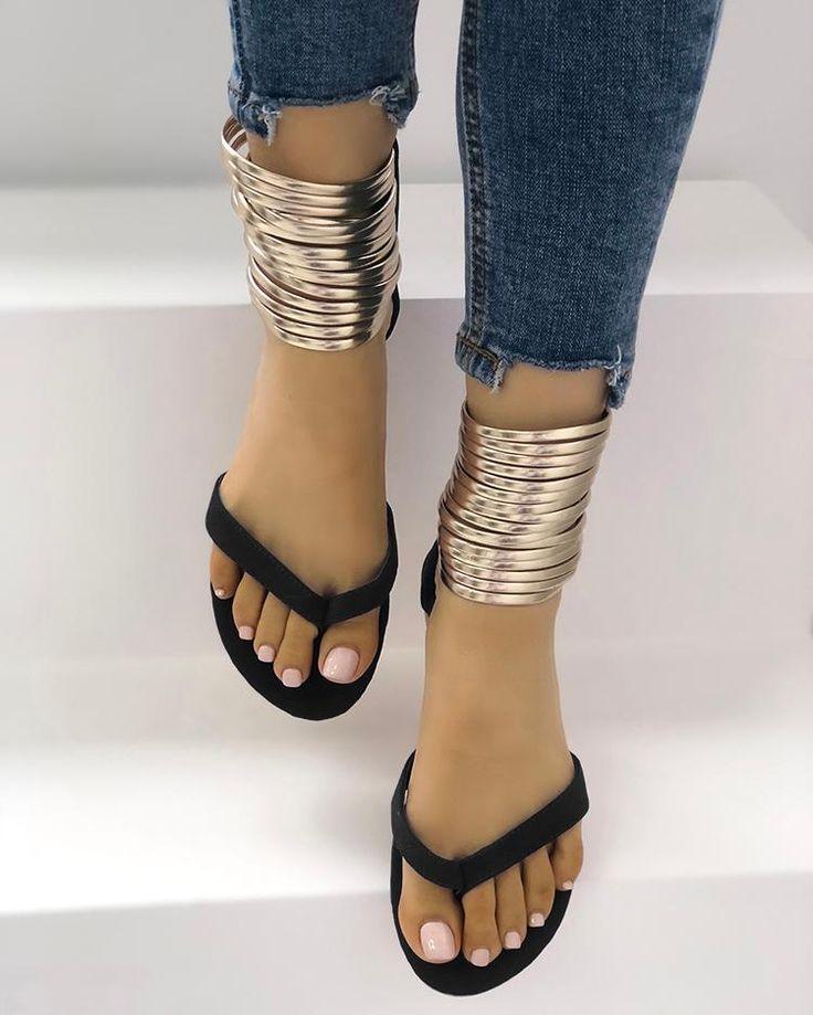 Metallic Embellished Flip Flops Platform Sandals Online. Discover hottest trend …