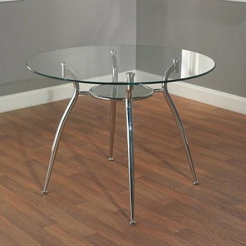 Dining Table Metal Chrome With Glass Top Lower Shelf  Modern Styling Seating 4 #MabelMetal