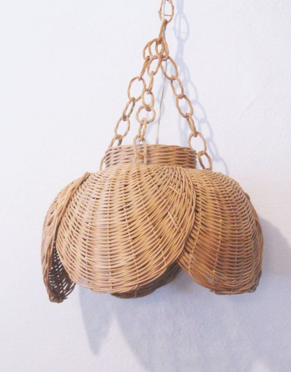 Vintage Woven Rattan Wicker Swag Hanging Lamp by modfolk on Etsy