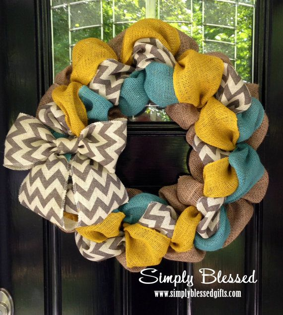 Chevron Burlap Wreath for front door or accent - Yellow, Teal, White, Gray, and Natural - Spring, Winter, Summer