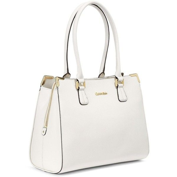 Calvin Klein Saffiano Leather Satchel Bag (555 RON) ❤ liked on Polyvore featuring bags, handbags, cherub white, white purse, satchel handbags, calvin klein purse, satchel style handbag and calvin klein handbags