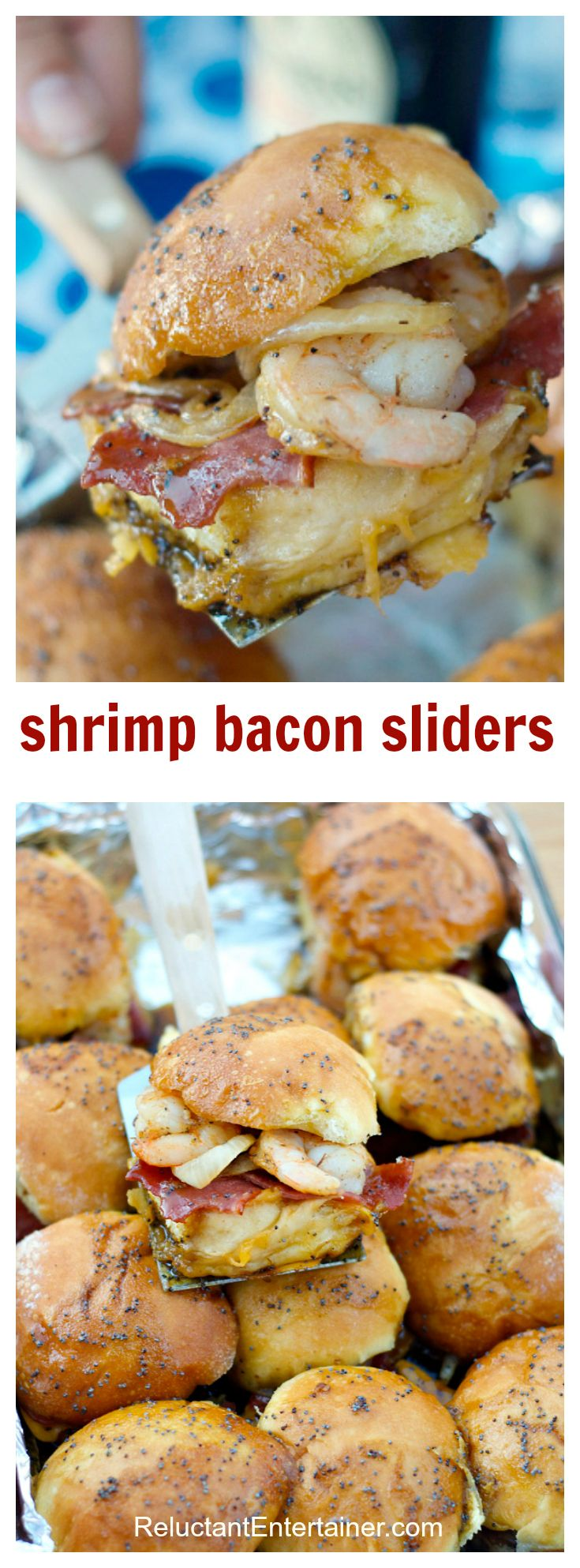 Shrimp Bacon Sliders for tailgating or holiday parties! ReluctantEntertainer.com