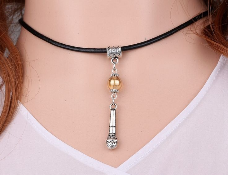Microphone&Glass Bead Charms Vintage Silver Choker Collar Leather Necklace Pendant DIY Jewelry  Women Clothing Brand HOT A95