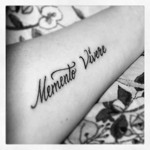 Memento Vivere - Remember To Live. This was my first tattoo. Slightly smaller than this one.