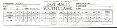 1994 CGA GOLF TOUR SCORECARD RON REED & CHUCK CECIL . $25.00. 1994 CELEBRITY GOLF ASSOCIATION EAST AUSTIN YOUTH CLASSIC (JUNE 3-5)THIS ROUND OF THE TOURNAMENT WAS HELD ON 6-5-94THIS WAS RON REED'S SCORECARD WITH CHUCK CECIL AS THE MARKER. HAND SIGNED BY BOTH.AUTOGRAPHS ARE GUARANTEED TO PASS PSA/DNA OR JSA OR FULL REFUND. SPORTSLOT CERTIFICATE OF AUTHENTICITY (COA) INCLUDED.ITEM PICTURED IS ACTUAL ITEM BUYER WILL RECEIVE.