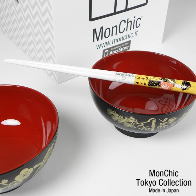 Ciotole giapponesi rosso/nero con bacchette  -