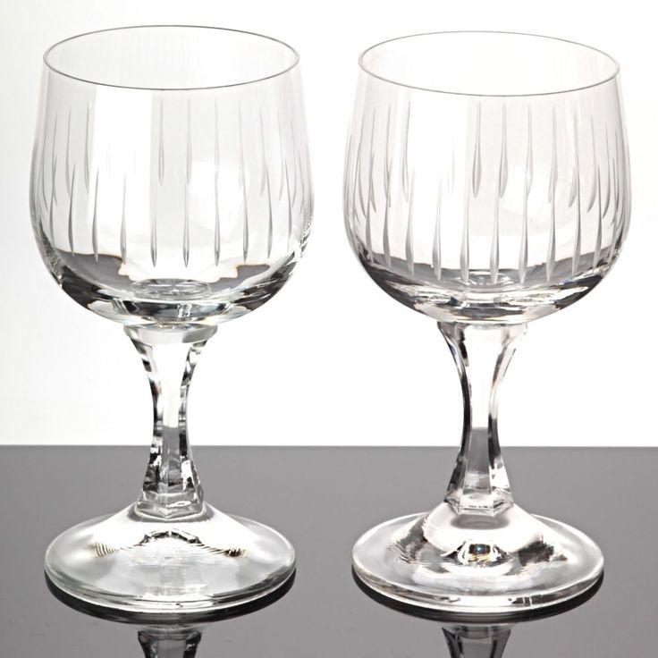 2 Weingläser Weißweingläser Linien Schliff Gravur ~ 60er Jahre Kristall Gläser