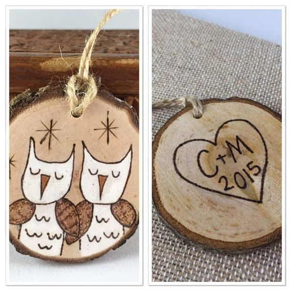 Cute owls, hand painted and wood burned onto a wood slice. Wood ornament features a cute heart with initials on the back. Let me know what year you would like added in the note to seller section during check out. The year 2016 will be added, unless otherwise noted. Thanks! All of my wood burnings originate from a free hand drawing in pencil. With a wood burner I outlined the drawing and filled it in with acrylic paint, followed by a couple of coats of varnish to protect the piece from wear…