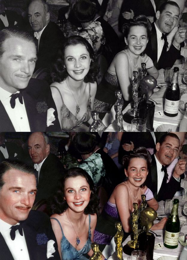 'Gone With the Wind' cast at the Oscars.   12 Beautifully Re-Coloured Vintage Pictures Of Celebrities