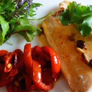 Poached Salmon w Sweet & Sour Peppers