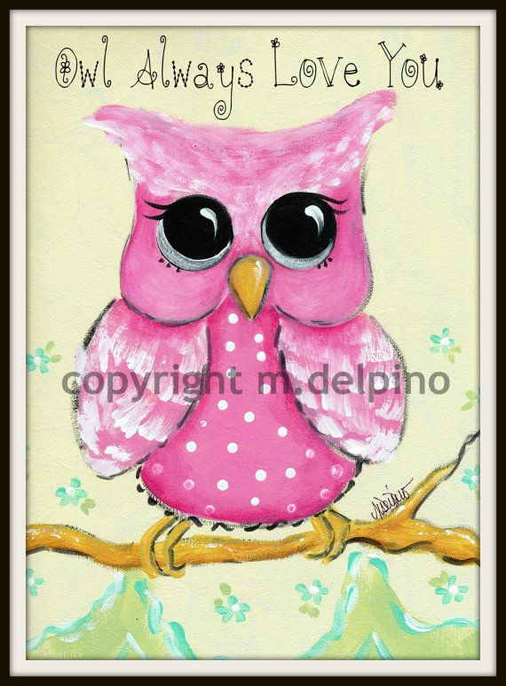 Pink Owl nursery art Personalized Birth Name baby by AdoraArt, $10.00