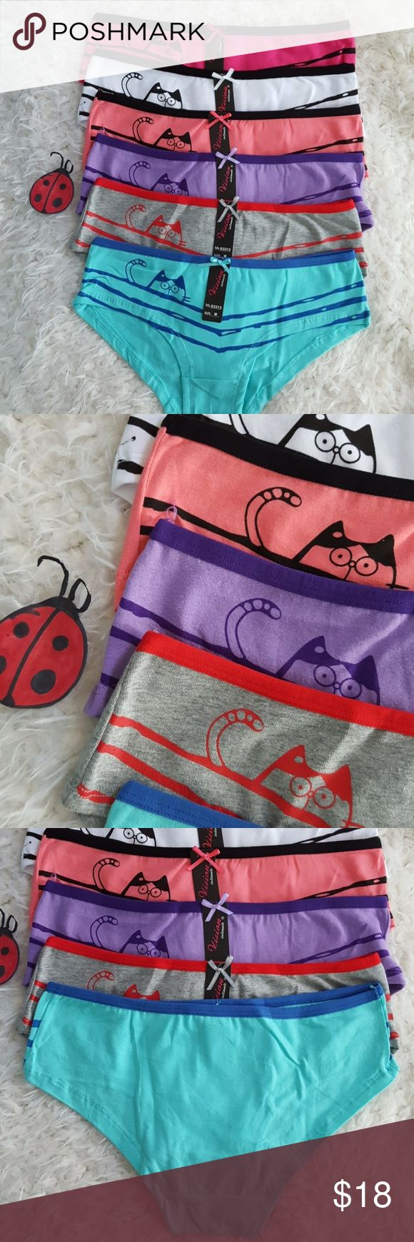 6- Kitty Cat bikini Hipster panties New Super Cute peek a boo  kitty  Cat panties. Soft and comfortable.  95% cotton  5% spandex  Other colors available Intimates & Sleepwear Panties