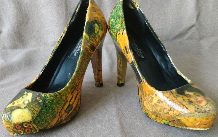 Klimt Shoes. Decoupage technique. Hand-made.  Pattern: The Kiss and The Lady in Gold by Gustav Klimt.