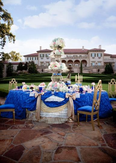 Fancy Marie Antoinette inspired tabletop by Mershon Catering & Event Design at the Philbrook Museum of Art. Photo by Jesse Reich Photography. #wedding #whimsical #blue #pink #decor #luxe #luxury