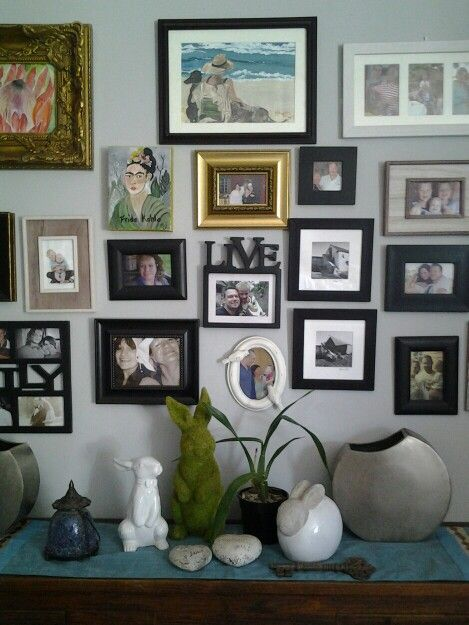 Photo feature wall. Ecclectic