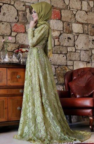 Pınar Şems - Esra Dantel Abiye Fıstık Yeşili