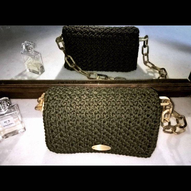 Crochet bag, Flap bag, Shoulder bag, Evening purse, Olive green, Chain, Women's gift, Fashionable, Knitting, Handmade purse, Classy, Classic by FeMiGR on Etsy