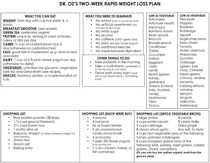 Dr. Oz's Rapid Weight-Loss Plan One-Sheet & recipes - audience members lost an average of 9 lbs in two weeks.