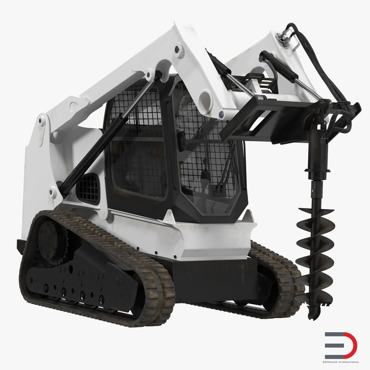 Compact Tracked Loader with Auger Rigged