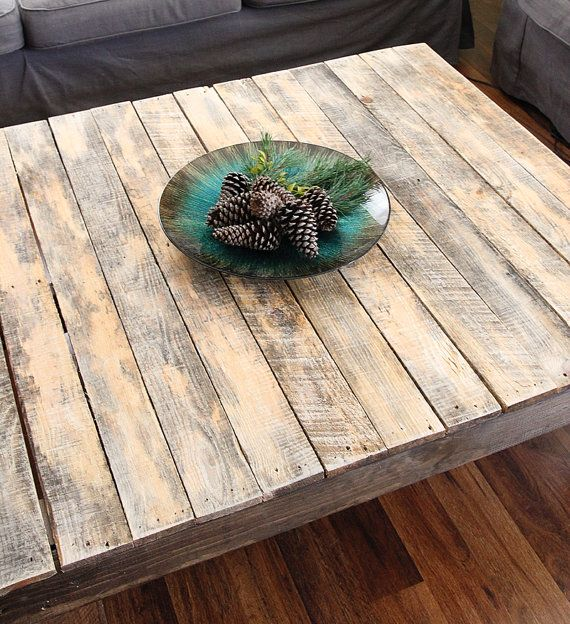 Rustic Reclaimed Wood Large Square Coffee Table By Yonderyearsshop
