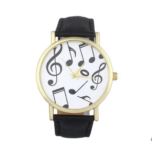 Feitong Women's Casual Quartz Watch Musical Notes PU Leather Band