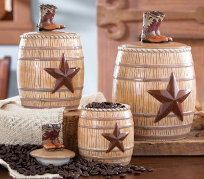 Awesome Western Kitchen Canister Set From Collections Etc.