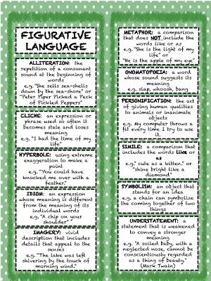 Teachingisagift: Figurative Language Bookmarks Manic Monday FREEBIE