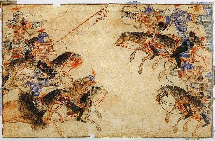 A Mongol battle scene. Illustrations of Ilkhanids in the Diez Album, an early…