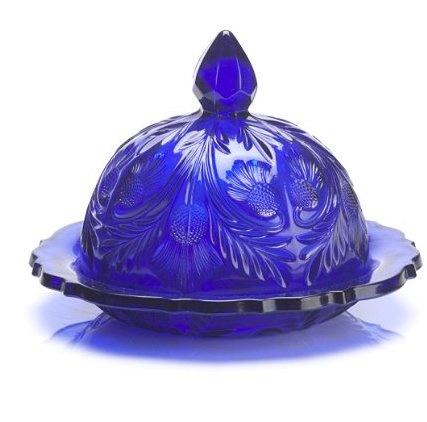 Mosser Glass Butter Dish Cobalt blue