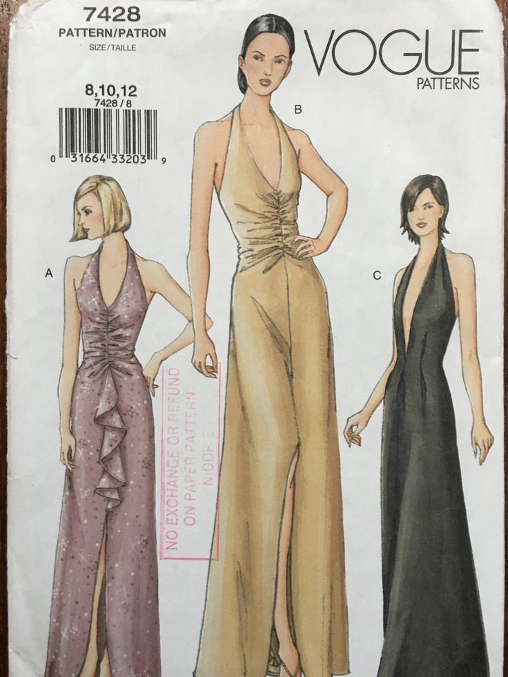 Vogue Sewing Pattern Sewing Pattern Vogue 7428 Long Dress Gown Low Cut Halter Neck Uncut 8, 10, 12 Evening Dress uncut pattern by weseatree on Etsy