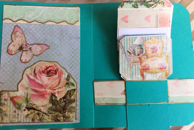 Shabby chic waterfall card, inside, flipping cards moving