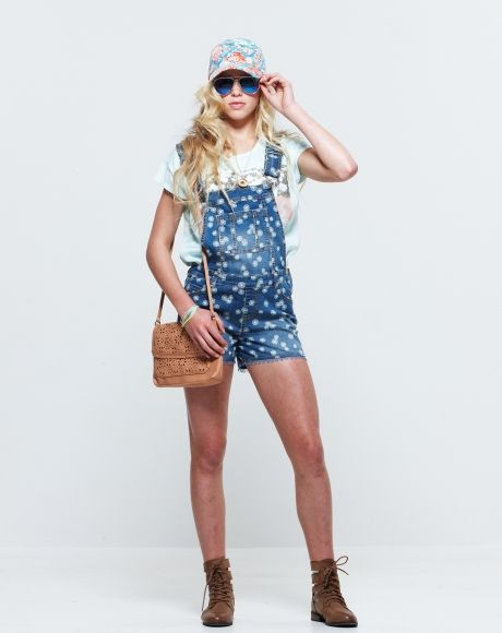 Pavement Brands - Alexa Top + Gracie Overalls + Donut Necklace + Punched Hole bag