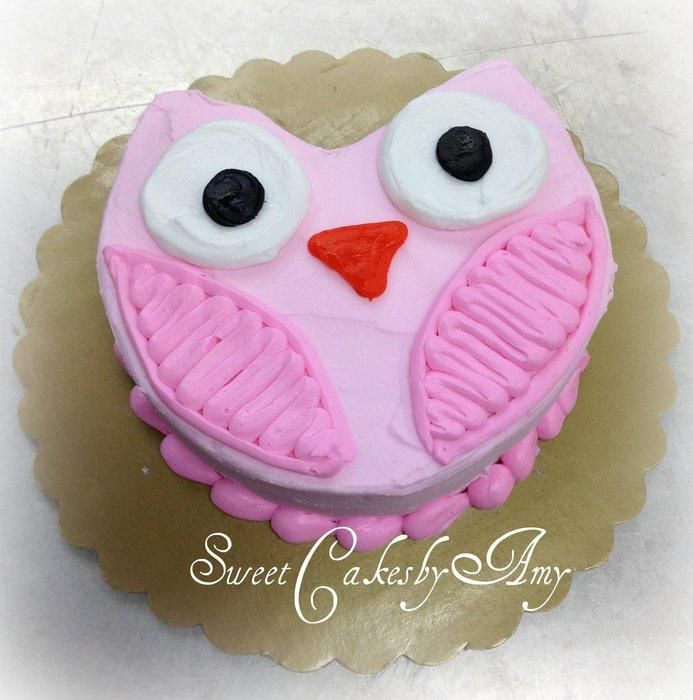 Super cure smash cake shaped into an owl, All buttercream. Enjoy!                                                                                                                                                      More
