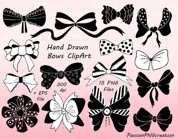 Hand Drawn Bows Clipart Ribbons Png Eps Ai Vector Tied Etsy How To Draw Hands Clip Art Bow Clipart