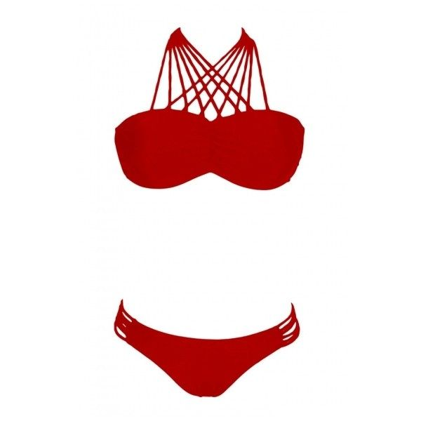 Strappy Red Plain Cutout Bikini Bottom Bikini Set ($13) ❤ liked on Polyvore featuring swimwear, bikinis, cut out bikini swimwear, bikini two piece, cutout bikini bottom, bikini swimwear and strap bikini